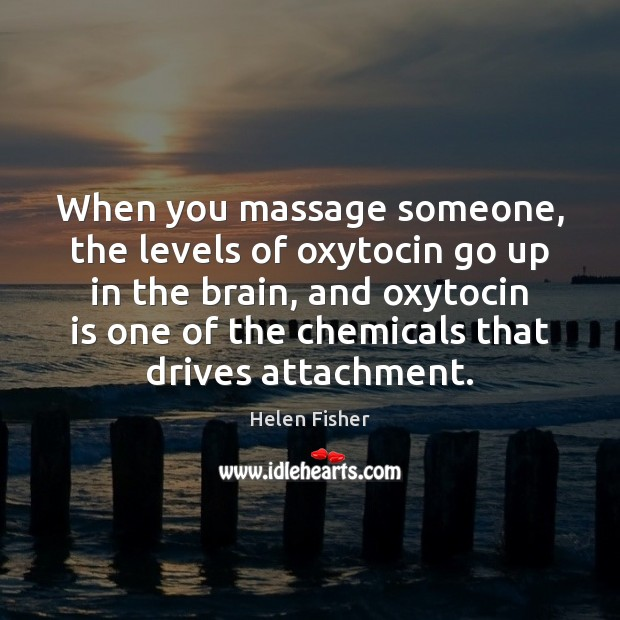 When you massage someone, the levels of oxytocin go up in the Helen Fisher Picture Quote