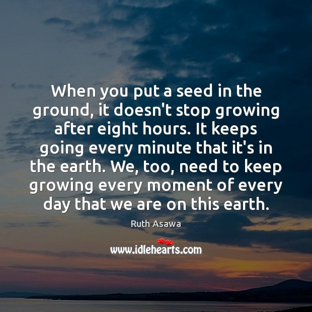 When you put a seed in the ground, it doesn't stop growing Ruth Asawa Picture Quote