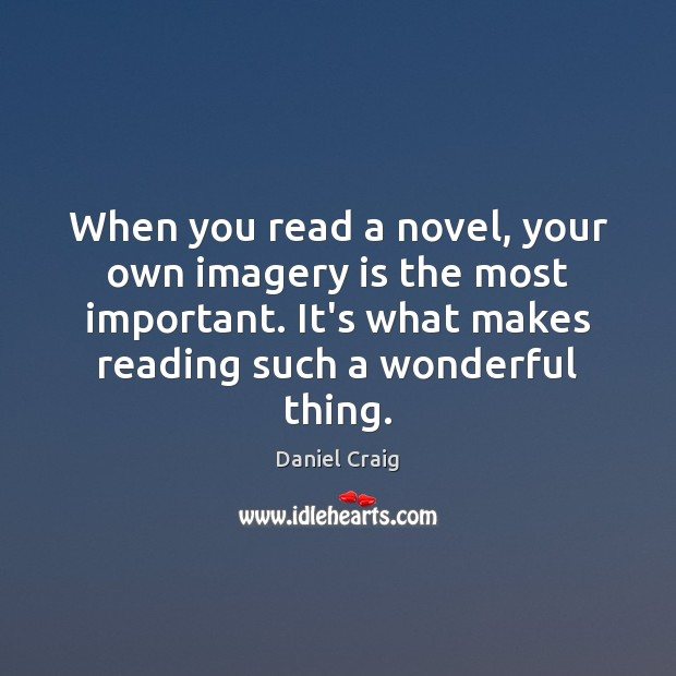 Image, When you read a novel, your own imagery is the most important.