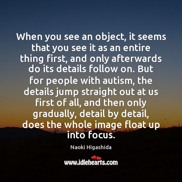 When you see an object, it seems that you see it as Image