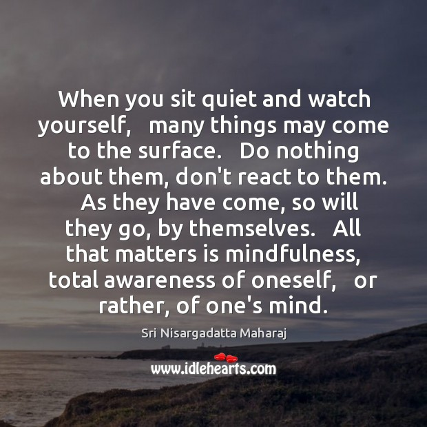 When you sit quiet and watch yourself,   many things may come to Sri Nisargadatta Maharaj Picture Quote