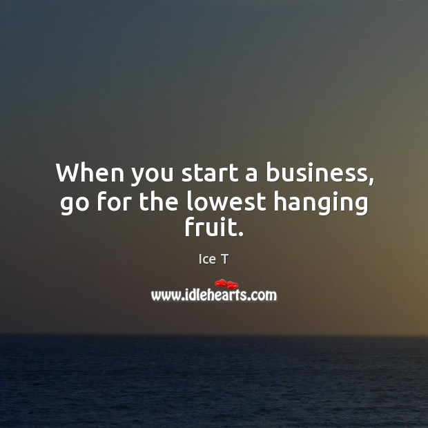 When you start a business, go for the lowest hanging fruit. Ice T Picture Quote