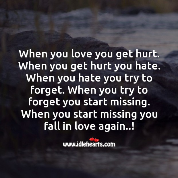 When you start missing you fall in love again Missing You Quotes Image