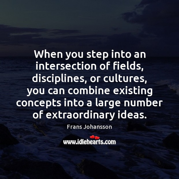 Image, When you step into an intersection of fields, disciplines, or cultures, you