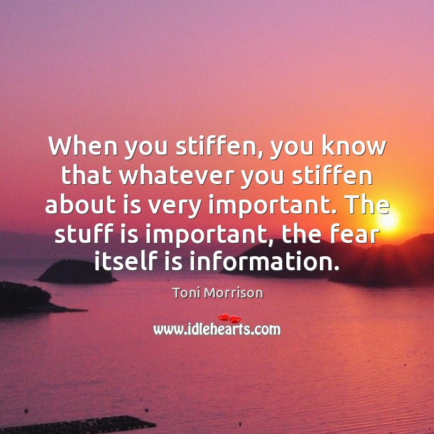 When you stiffen, you know that whatever you stiffen about is very Image