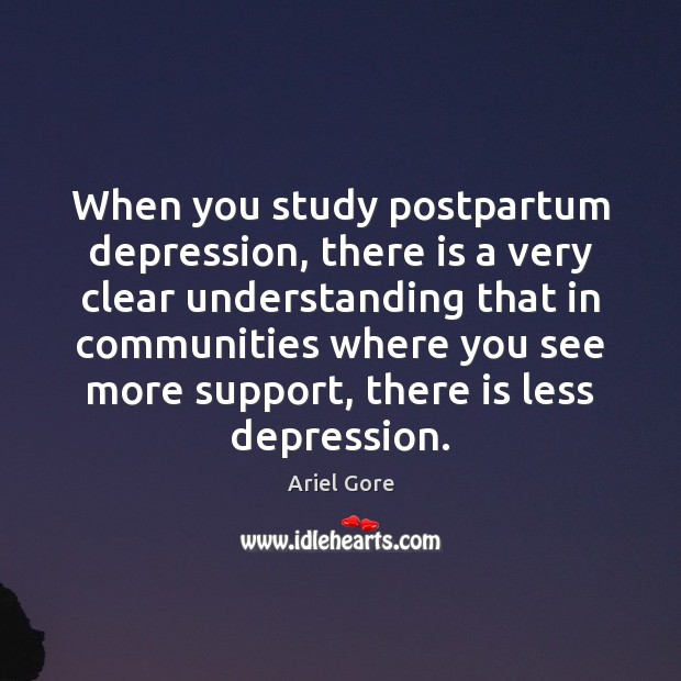 Image, When you study postpartum depression, there is a very clear understanding that