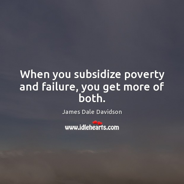 When you subsidize poverty and failure, you get more of both. Failure Quotes Image