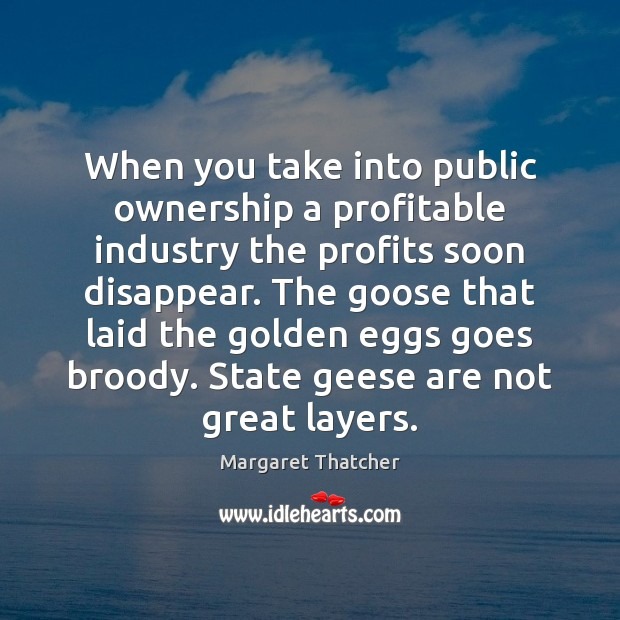 When you take into public ownership a profitable industry the profits soon Margaret Thatcher Picture Quote