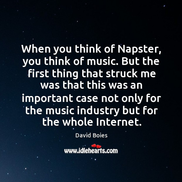 When you think of napster, you think of music. But the first thing that struck me Image