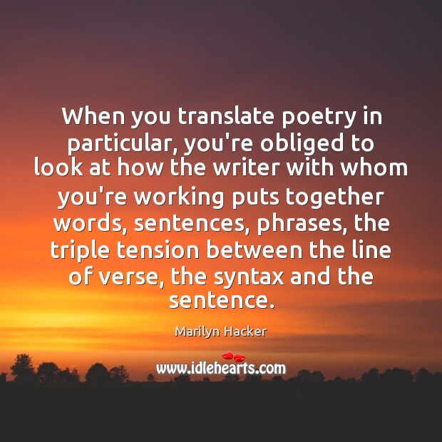 Image, When you translate poetry in particular, you're obliged to look at how