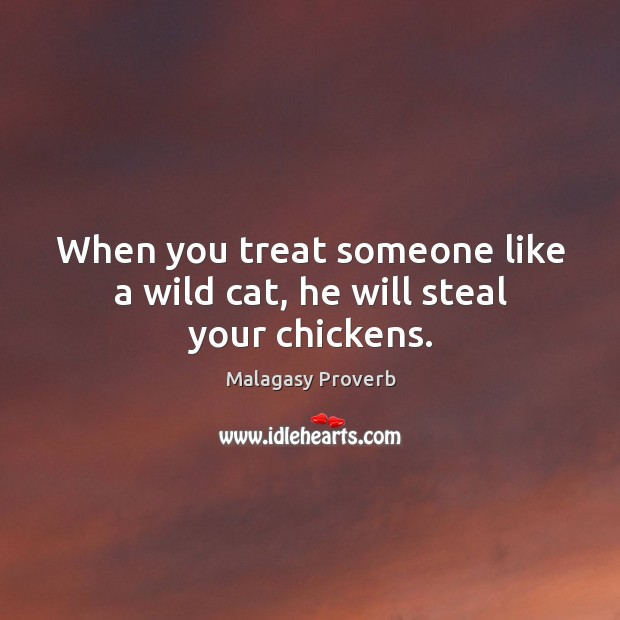 Image, When you treat someone like a wild cat, he will steal your chickens.