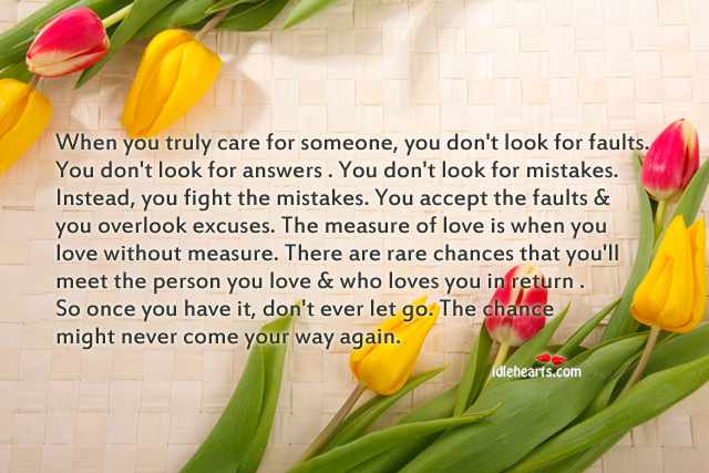 When you truly care for someone, you don't look for faults. Don't Ever Let Quotes Image