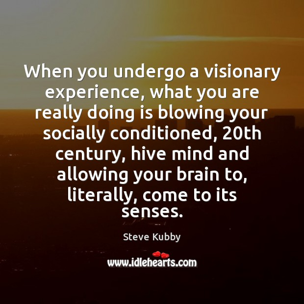 When you undergo a visionary experience, what you are really doing is Image