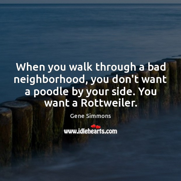 When you walk through a bad neighborhood, you don't want a poodle Gene Simmons Picture Quote
