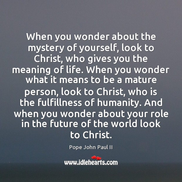 When you wonder about the mystery of yourself, look to Christ, who Pope John Paul II Picture Quote