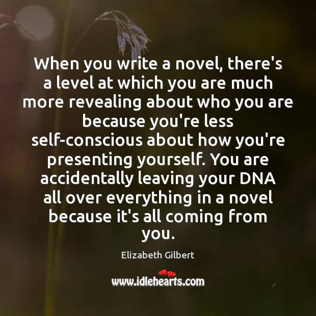 When you write a novel, there's a level at which you are Elizabeth Gilbert Picture Quote