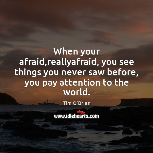When your afraid,reallyafraid, you see things you never saw before, you Tim O'Brien Picture Quote