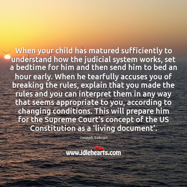 When your child has matured sufficiently to understand how the judicial system Image
