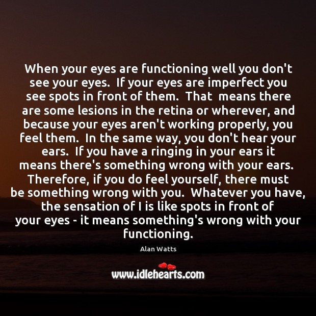 Image, When your eyes are functioning well you don't see your eyes.  If