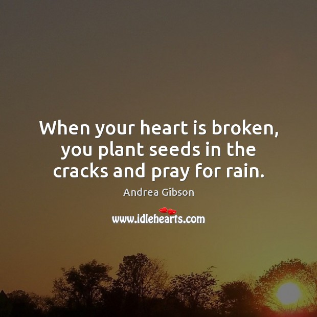 When your heart is broken, you plant seeds in the cracks and pray for rain. Image