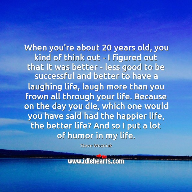 When you're about 20 years old, you kind of think out – I To Be Successful Quotes Image