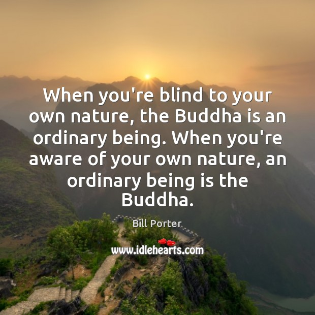 When you're blind to your own nature, the Buddha is an ordinary Bill Porter Picture Quote