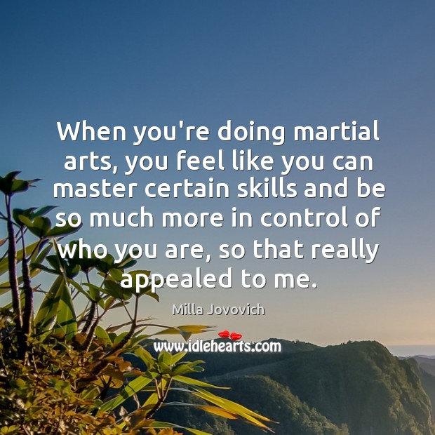 When you're doing martial arts, you feel like you can master certain Image