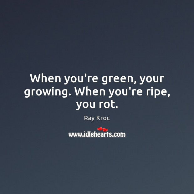 When you're green, your growing. When you're ripe, you rot. Ray Kroc Picture Quote