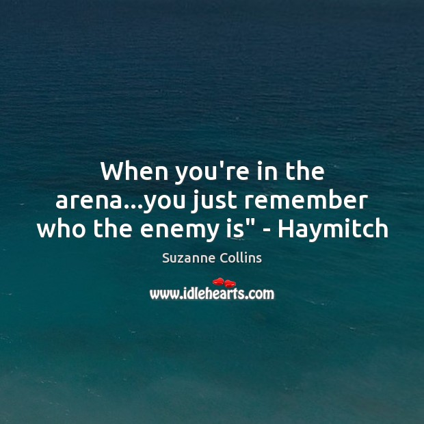 """When you're in the arena…you just remember who the enemy is"""" – Haymitch Image"""