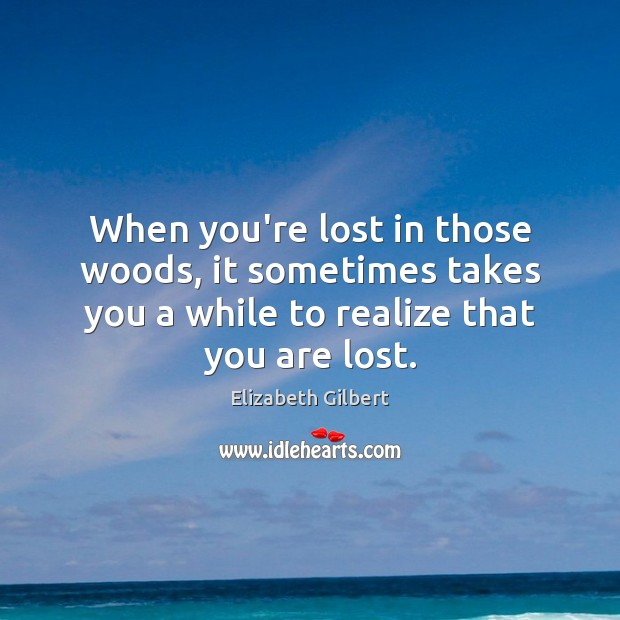 When you're lost in those woods, it sometimes takes you a while Elizabeth Gilbert Picture Quote