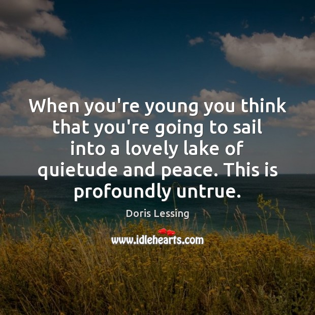 When you're young you think that you're going to sail into a Doris Lessing Picture Quote