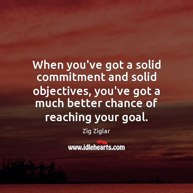 When you've got a solid commitment and solid objectives, you've got a Zig Ziglar Picture Quote