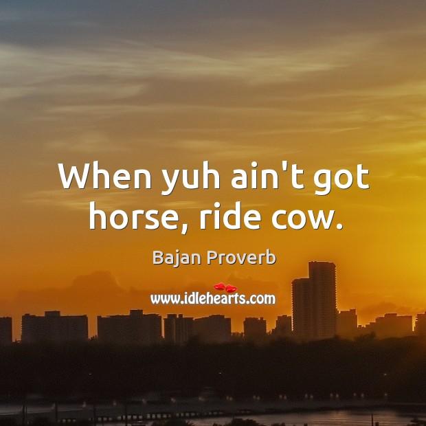 When yuh ain't got horse, ride cow. Bajan Proverbs Image