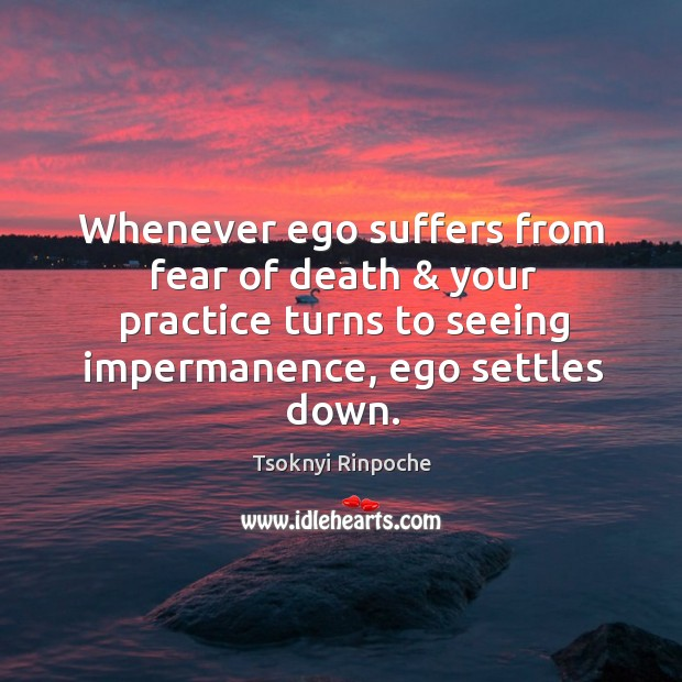 Whenever ego suffers from fear of death & your practice turns to seeing Tsoknyi Rinpoche Picture Quote