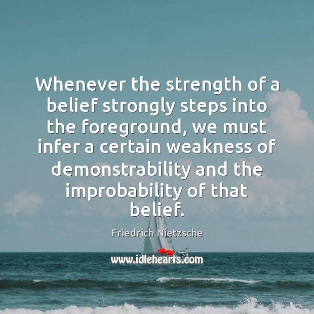 Image, Whenever the strength of a belief strongly steps into the foreground, we
