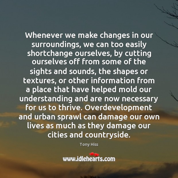 Whenever we make changes in our surroundings, we can too easily shortchange Image