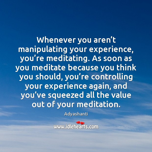 Image, Whenever you aren't manipulating your experience, you're meditating. As soon