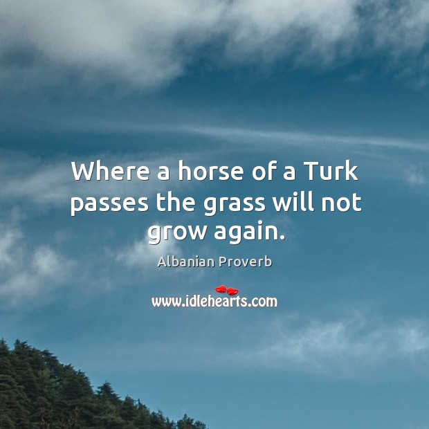 Where a horse of a turk passes the grass will not grow again. Albanian Proverbs Image