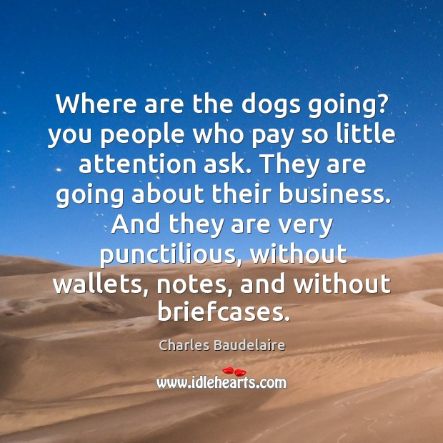 Where are the dogs going? you people who pay so little attention Image