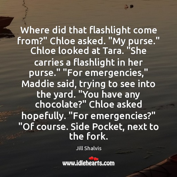 "Image, Where did that flashlight come from?"" Chloe asked. ""My purse."" Chloe looked"
