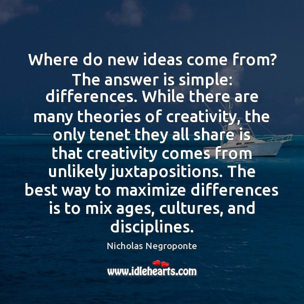 Where do new ideas come from? The answer is simple: differences. While Image