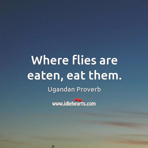 Where flies are eaten, eat them. Ugandan Proverbs Image