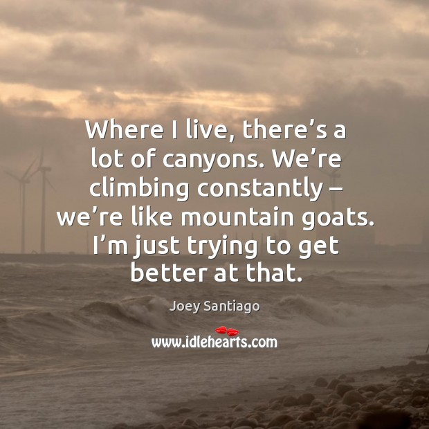 Where I live, there's a lot of canyons. Joey Santiago Picture Quote