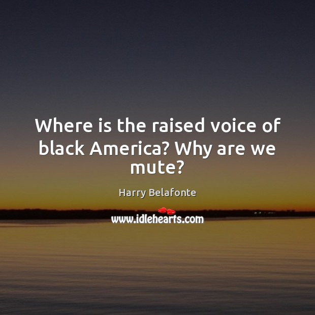 Image, Where is the raised voice of black America? Why are we mute?