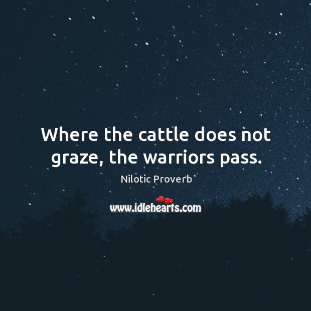 Where the cattle does not graze, the warriors pass. Nilotic Proverbs Image