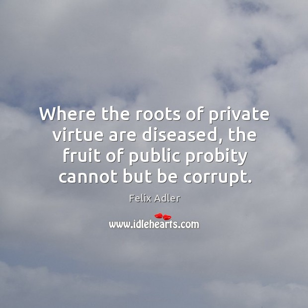 Where the roots of private virtue are diseased, the fruit of public probity cannot but be corrupt. Felix Adler Picture Quote