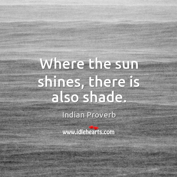 Where the sun shines, there is also shade. Indian Proverbs Image