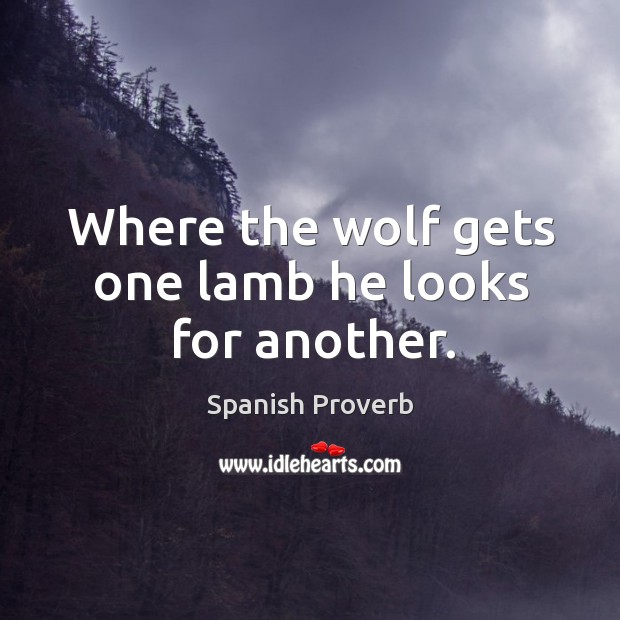 Image, Where the wolf gets one lamb he looks for another.