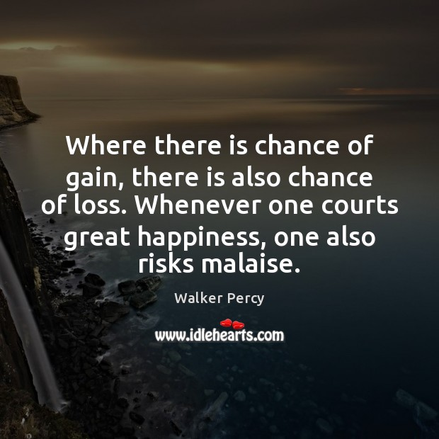 Where there is chance of gain, there is also chance of loss. Walker Percy Picture Quote