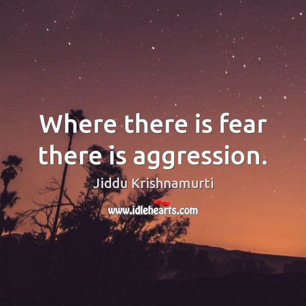 Image, Where there is fear there is aggression.
